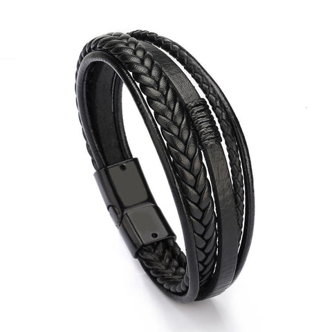 Multilayer Leather Bangles Bracelet for Men - Jenicy