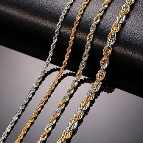 Stainless Steel Rope Chain Necklace - Jenicy