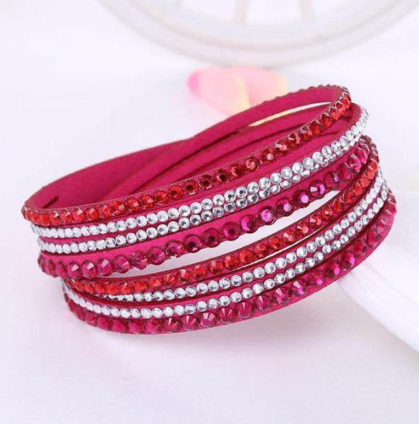 Crystal Leather Bangle Bracelet - Jenicy