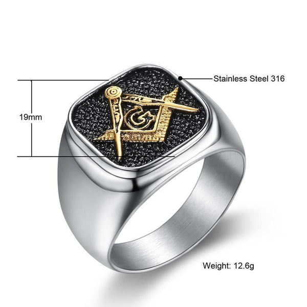 Vintage Black Stainless Steel Signet Ring - Jenicy