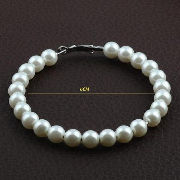 Simulated-pearl Hoop Earrings - Jenicy