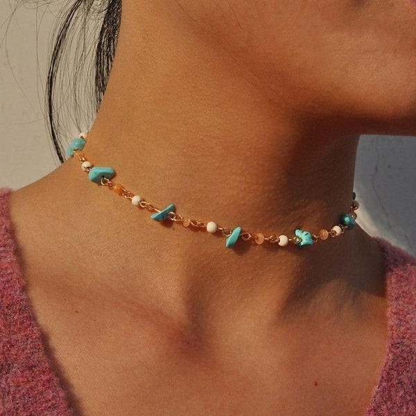 Natural Stone Beaded Chain Choker Necklace - Jenicy
