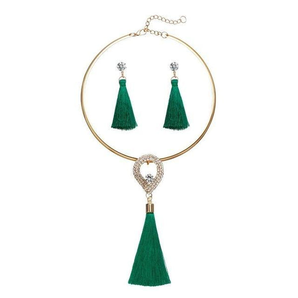Tassel Necklace Jewelry Set - Jenicy