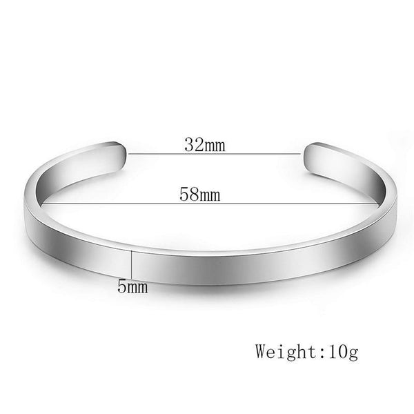 Stainless Steel Silver Color Cuff Bracelet - Jenicy