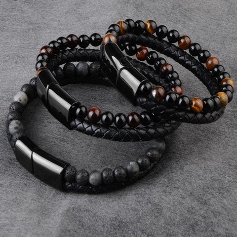 Natural Stone Genuine Leather Bracelet - Jenicy