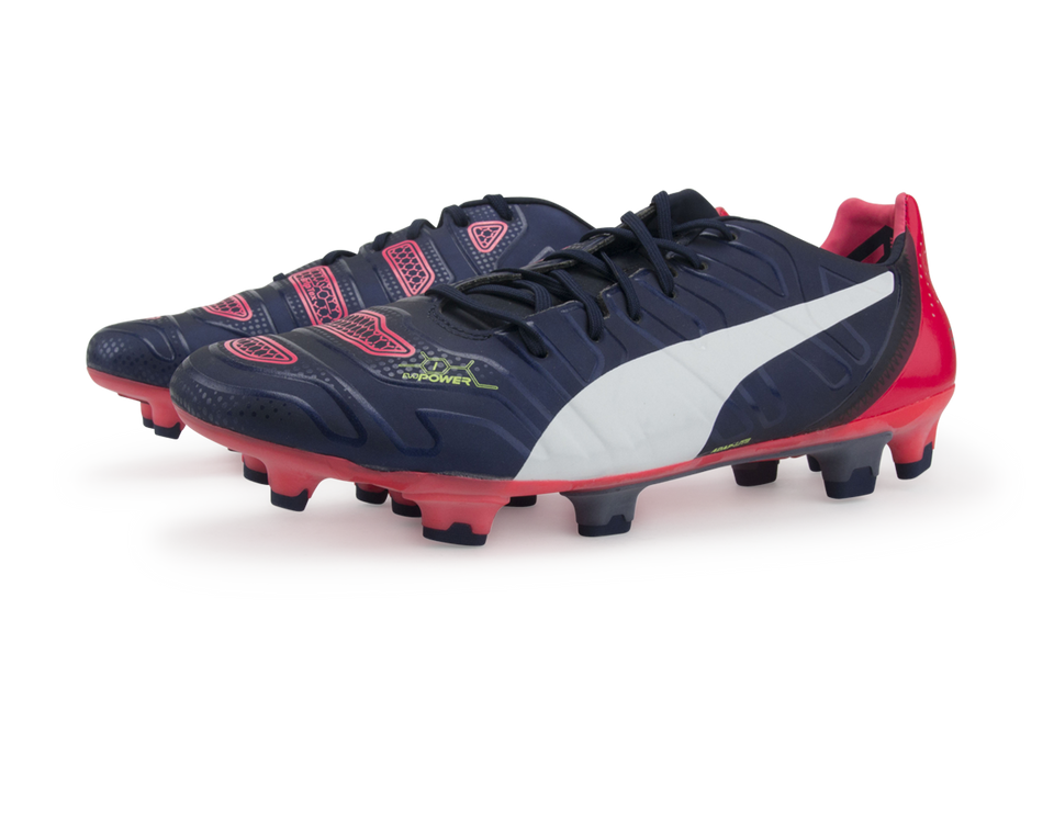 PUMA Men's evoPOWER 1.2 FG Peacoat/White/Bright Plasma