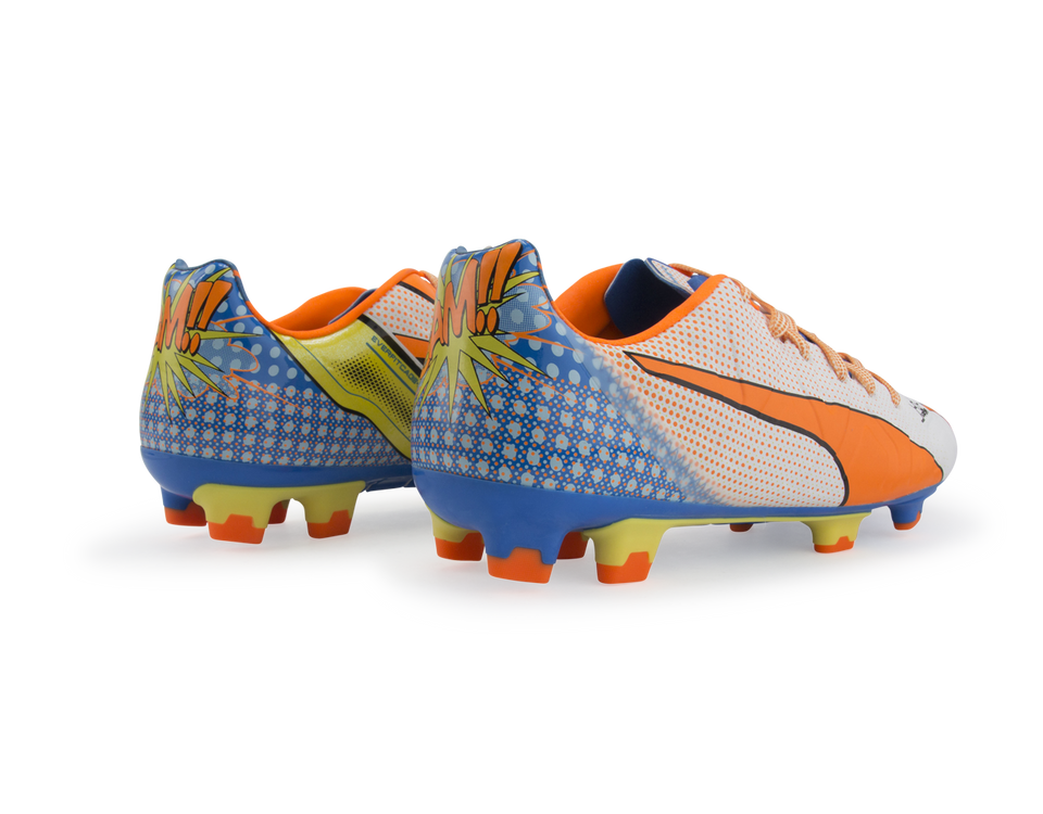 PUMA Men's evoPOWER 1.2 Graphic Pop FG White/Orange Clown Fish/Electric Blue Lemonade