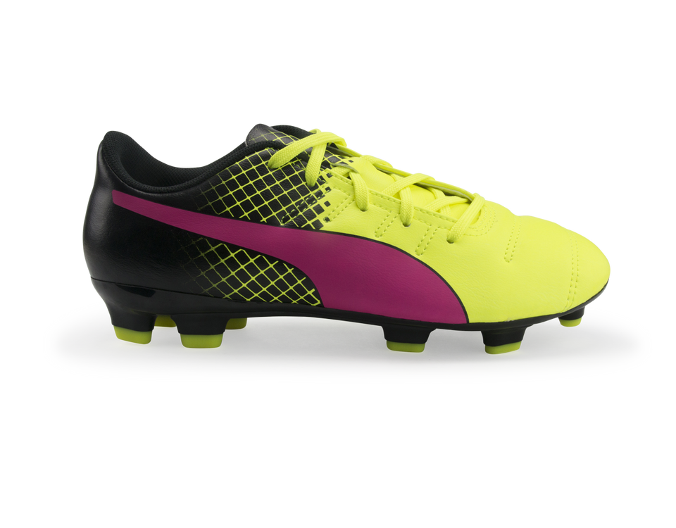PUMA Kids evoPOWER 4.3 Tricks FG Pink Glow/Safety Yellow/Black