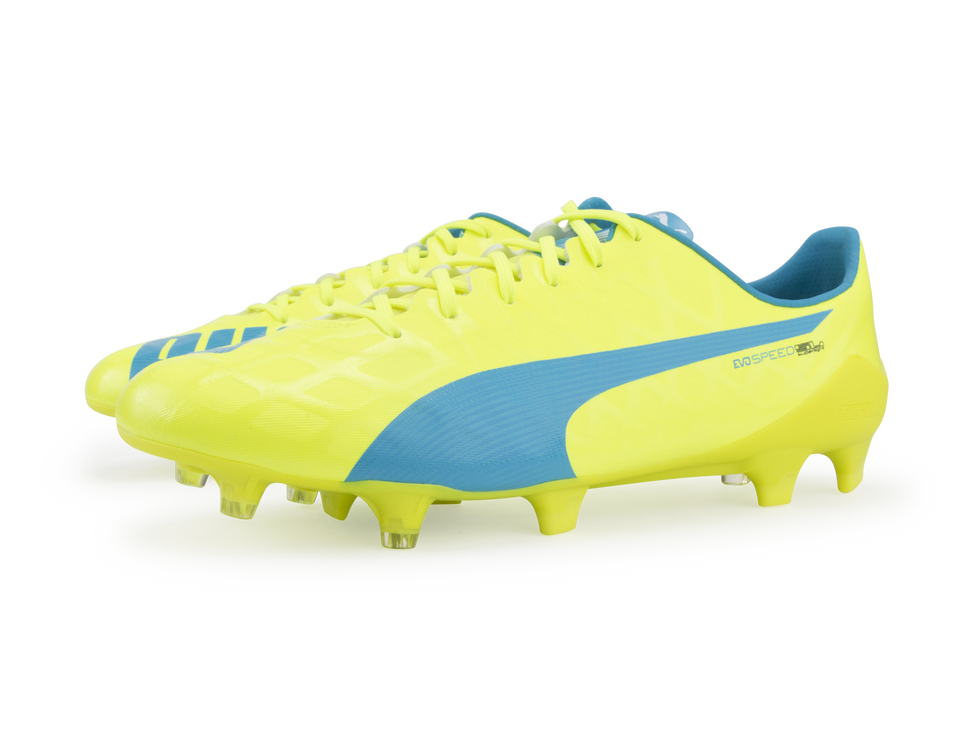PUMA Men's evoSPEED SL-S FG Safety Yellow/Atomic Blue/White