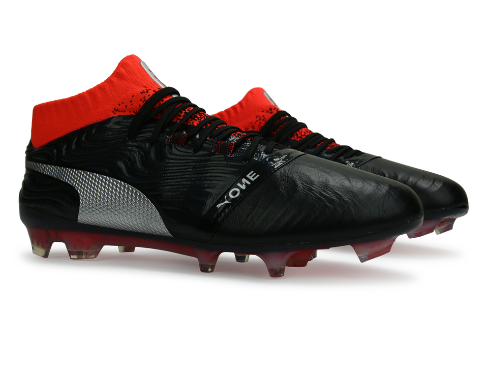 PUMA Men's ONE 18.1 FG Black/Silver/Red Blast