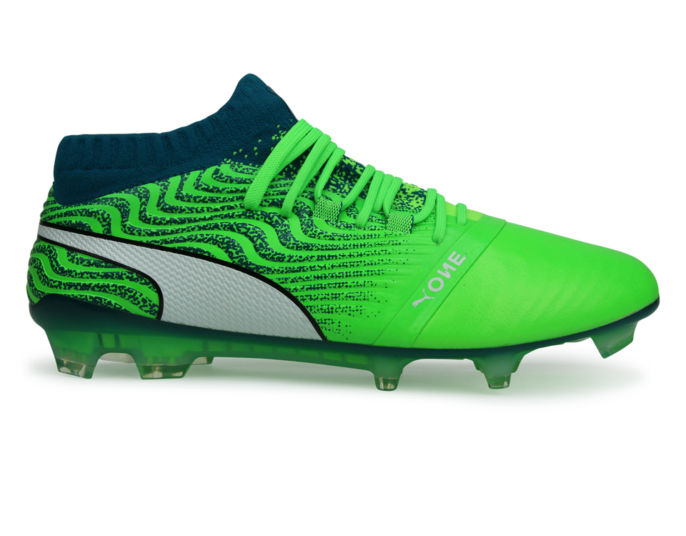 PUMA Men's ONE 18.1 FG Green/White/Deep Lagoon