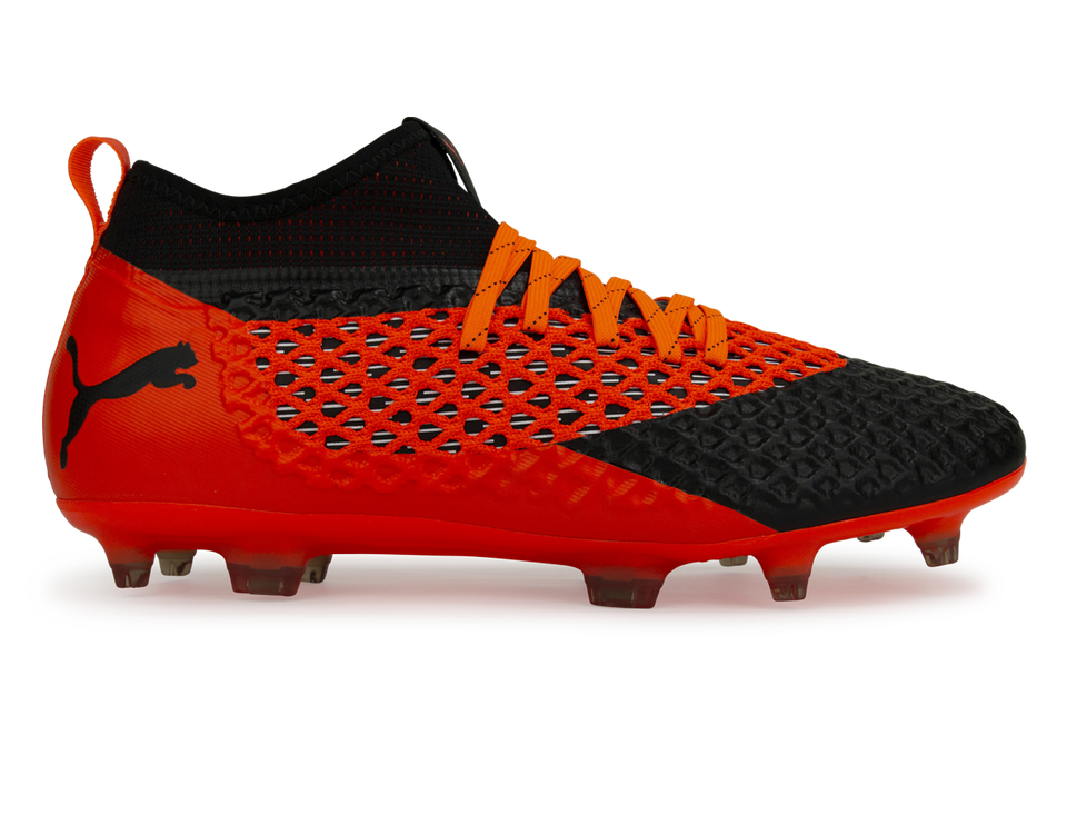 PUMA Men's FUTURE 2.2 NETFIT FG/AG Black/Shocking Orange