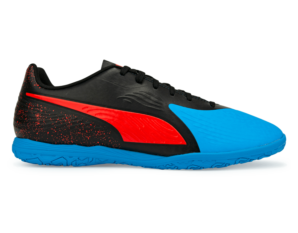 PUMA Men's One 19.4 Indoor Soccer Shoes  Bleu Azur/Red Blast/Black