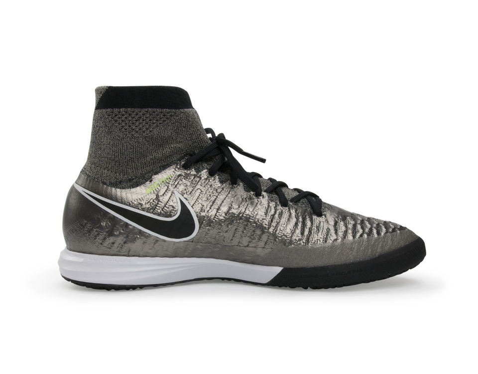 Nike Men's MagistaX Proximo Indoor Soccer Shoes Metallic Pewter/Ghost Green/Black
