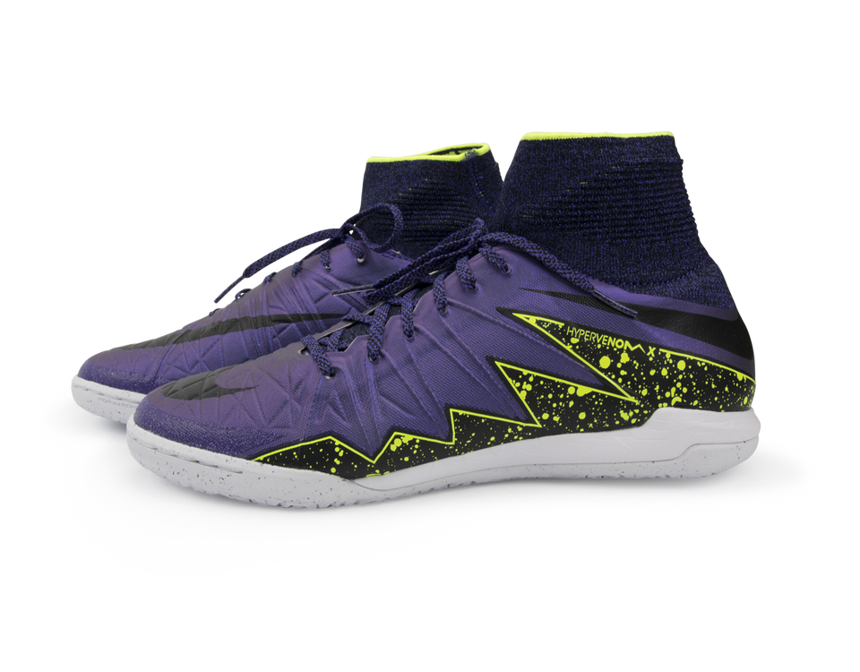 Nike Men's HypervenomX Proximo Indoor Soccer Shoes Hyper Grape/Black/Volt