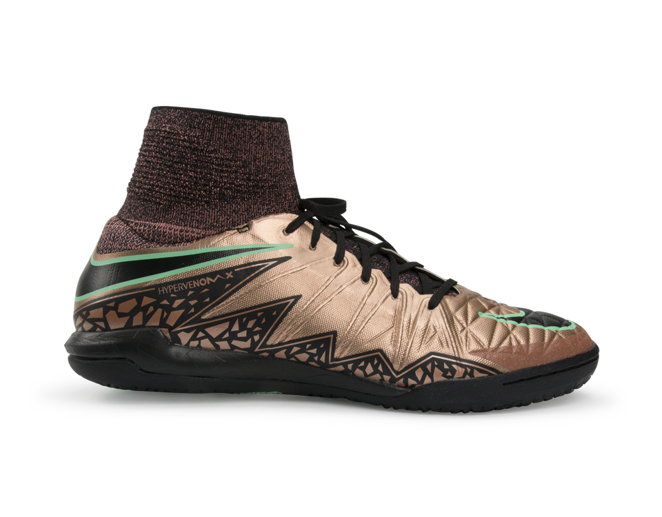 Nike Men's Hypervenom Proximo Indoor Soccer Shoes Metallic Red Bronze/Green Glow/Black