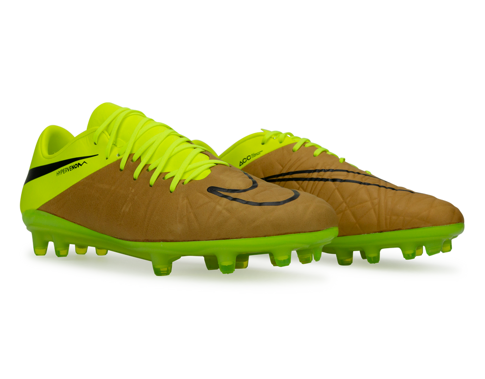 Nike Men's Hypervenom Phinish Leather FG Canvas/Black/Volt