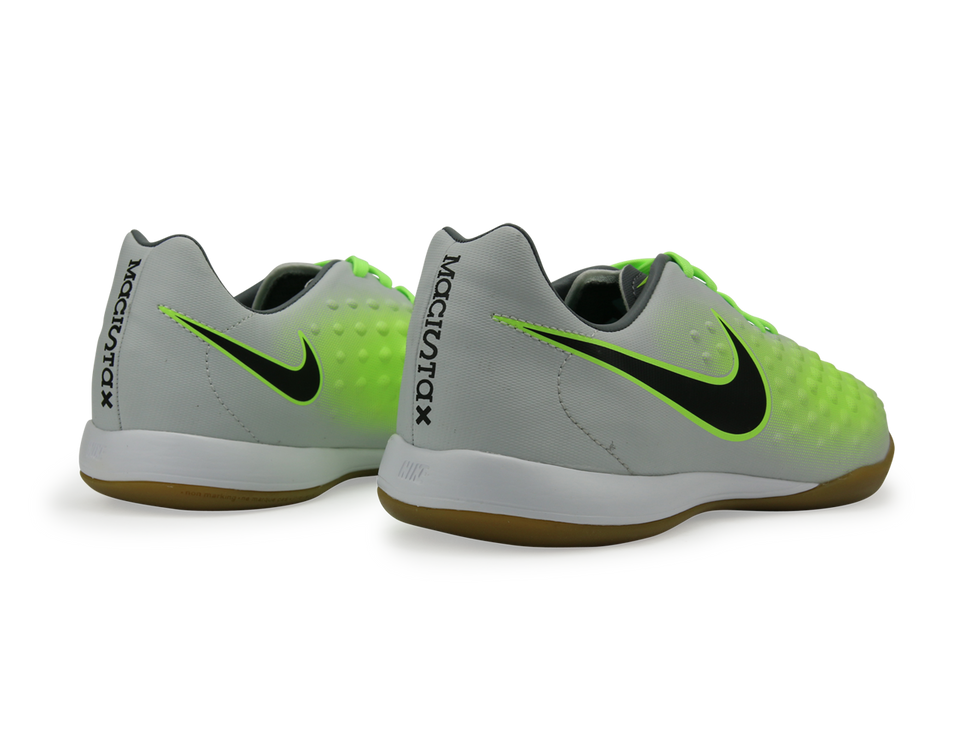Nike Kids MagistaX Opus Indoor Soccer Shoes Pure Platinum/Black/Ghost Green