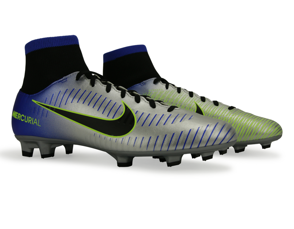 Nike Men's Mercurial Victory VI Dynamic Fit Neymar Jr FG Racer Blue/Black/Chrome/Volt