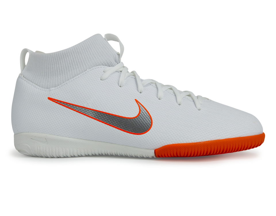 Nike Kids Mercurial SuperflyX VI Academy GS Indoor Soccer Shoes White/Metallic Cool Grey/Total Orange