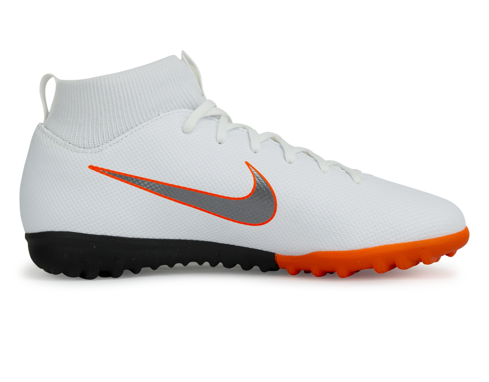 Nike Kids Mercurial Vapor 12 Academy GS Turf Soccer Shoes White/Metallic Cool Grey/Total Orange
