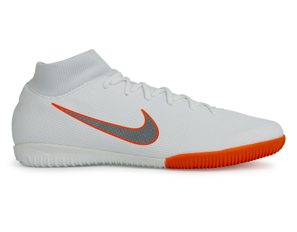 Nike Men's Mercurial SuperflyX 6 Academy Indoor Soccer Shoes White/Metallic Cool Grey/Total Orange