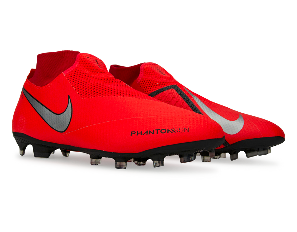 Nike Men's PhantomVSN Pro DF FG Bright Crimson/Metallic Silver