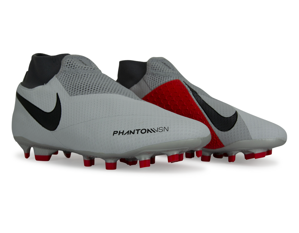 Nike Men's PhantomVSN Pro DF FG Pure Platinum Blackj/Light Crimson/Dark Grey