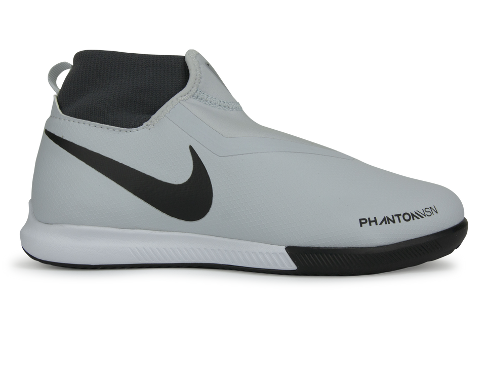 Nike Kids Phantom VSN Academy DF Indoor Soccer Shoes Pure Platinum Black/Light Crimson/Dark Grey
