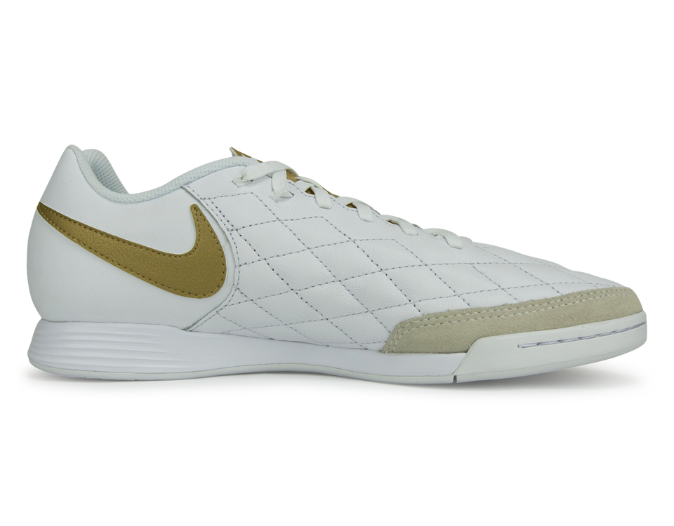 Nike Men's Tiempo LegendX 7 Club 10R Indoor Soccer Shoes White/Metallic Gold