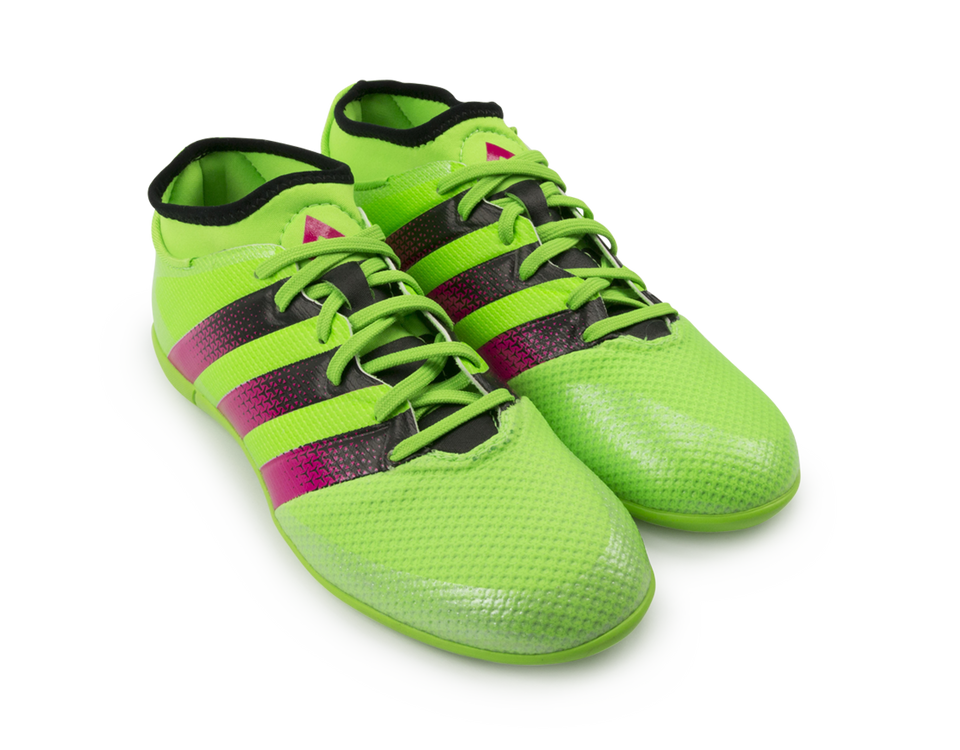 adidas Kids ACE 16.3 Primemesh Indoor Soccer Shoes Solar Green/Shock Pink/Black