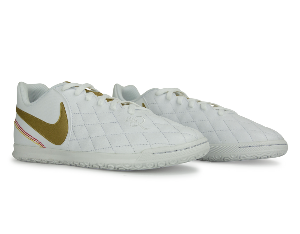 Nike Kids Tiempo LegendX 7 Club 10R Indoor Soccer Shoes White/Metallic Gold