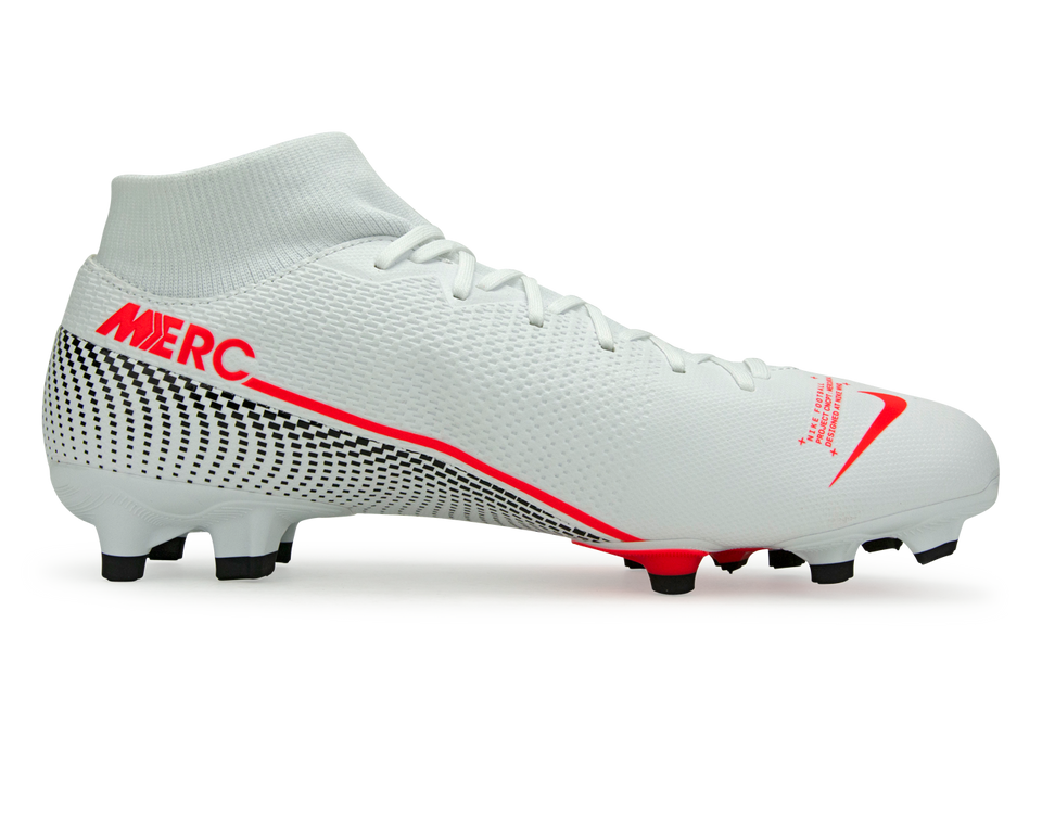 Nike Men's Mercurial Superfly 7 Academy FG/MG White/Laser Crimson/Black
