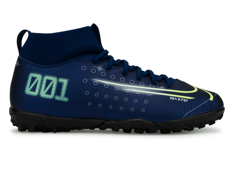 Nike Kids Mercurial Superfly 7 Academy MDS Turf Soccer Shoes Blue Void/Barely Volt/White