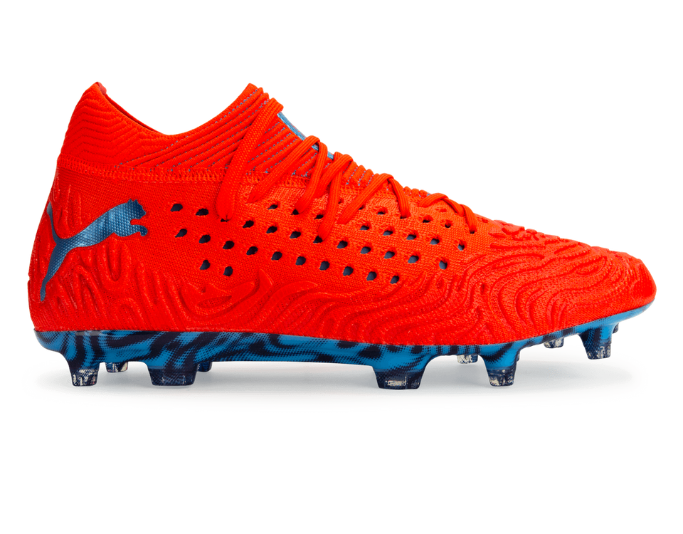 PUMA Men's Future 19.1 NetFit FG/AG Red Blast/Bleu Azur