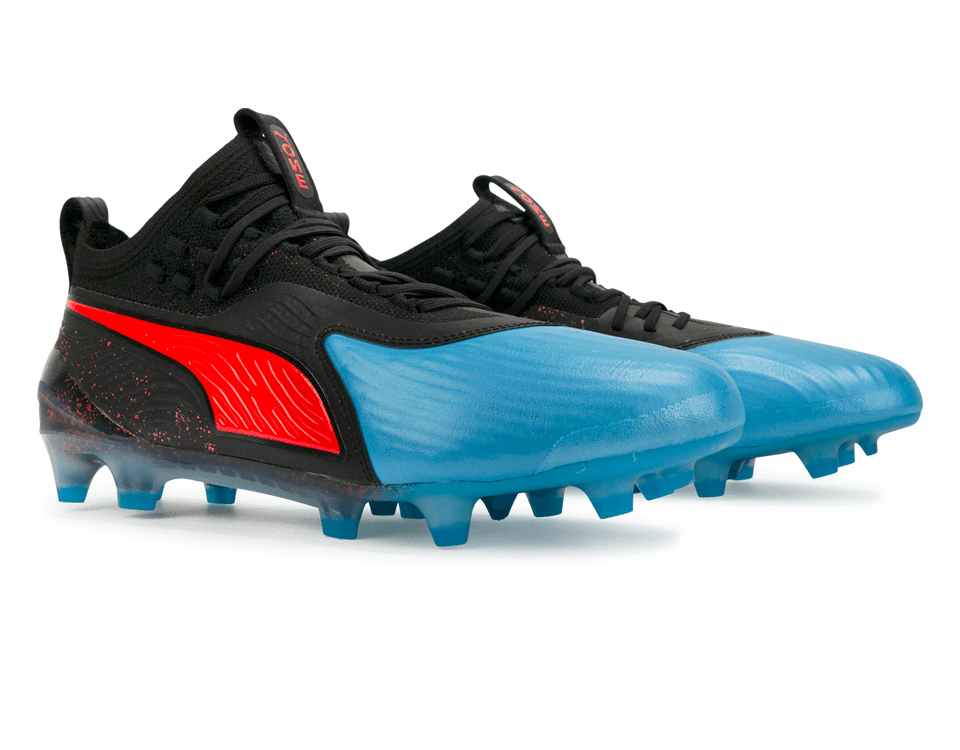 PUMA Men's One 19.1 FG/AG Bleu Azur/Red Blast