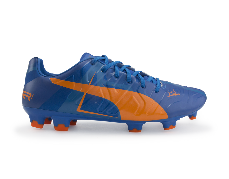 PUMA Men's evoPOWER 1 H2H FG Orange Clown Fish/Electric Blue Lemonade