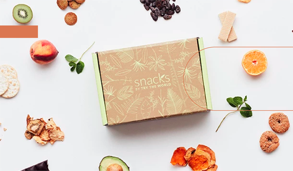 a closed snack box surrounded by food