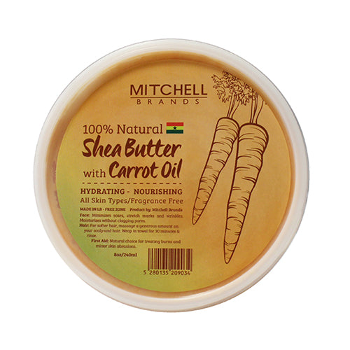 100% Natural Shea Butter Jar Enhanced with Carrot Oil Natural Shea Butter - Mitchell Brands - Skin Lightening, Skin Brightening, Fade Dark Spots, Shea Butter, Hair Growth Products