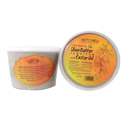 100% Natural Shea Butter Jar Enhanced with Jamaican Castor Oil Natural Shea Butter - Mitchell Brands - Skin Lightening, Skin Brightening, Fade Dark Spots, Shea Butter, Hair Growth Products