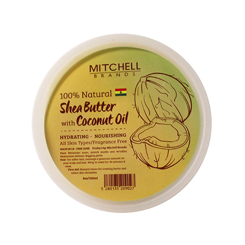 100% Natural Shea Butter Jar Enhanced with Coconut Oil Natural Shea Butter - Mitchell Brands - Skin Lightening, Skin Brightening, Fade Dark Spots, Shea Butter, Hair Growth Products