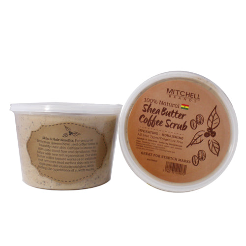100% Natural Shea Butter Jar Enhanced with Coffee Scrub - Mitchell Brands