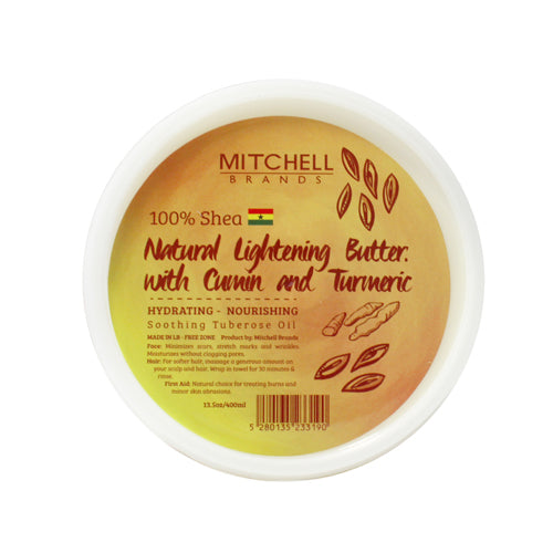 100% Natural Shea Butter Jar Enhanced with Tumeric and Cumin Natural Shea Butter - Mitchell Brands - Skin Lightening, Skin Brightening, Fade Dark Spots, Shea Butter, Hair Growth Products