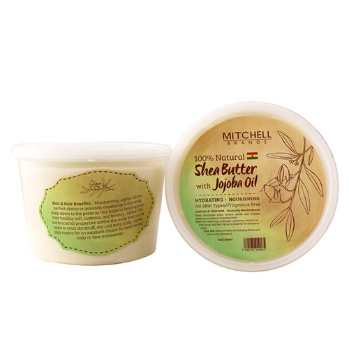 100% Natural Shea Butter Jar Enhanced with Jojoba Oil Natural Shea Butter - Mitchell Brands - Skin Lightening, Skin Brightening, Fade Dark Spots, Shea Butter, Hair Growth Products