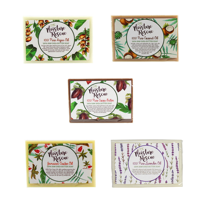 Moisture Rescue Soaps Pack of 5 Mitchell Brands - Mitchell Brands - Skin Lightening, Skin Brightening, Fade Dark Spots, Shea Butter, Hair Growth Products