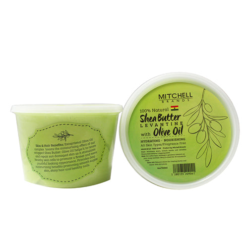 100% Natural Shea Butter Jar Enhanced with Olive Oil Natural Shea Butter - Mitchell Brands - Skin Lightening, Skin Brightening, Fade Dark Spots, Shea Butter, Hair Growth Products