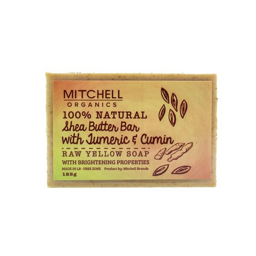 Mitchell Organics 100% Natural Shea Butter Bar With Turmeric & Cumin African Black Soap - Mitchell Brands - Skin Lightening, Skin Brightening, Fade Dark Spots, Shea Butter, Hair Growth Products