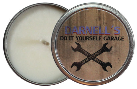 Darnell's Do It Yourself Garage Candle Tin