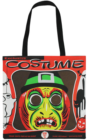Vintage Witch Mask Tote Bag