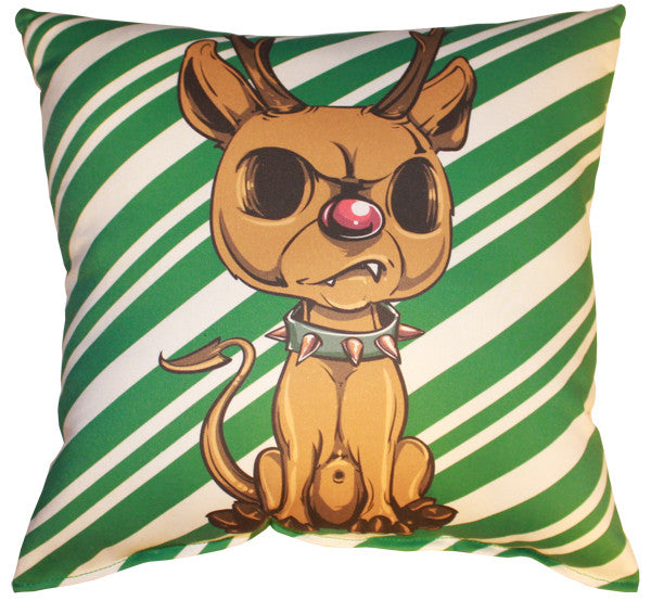 Reindeer (Green Striped) Pillow